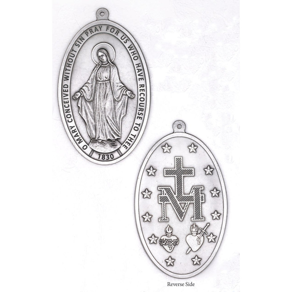 The Miraculous Medal - Small Wall Medal - Silver Tone