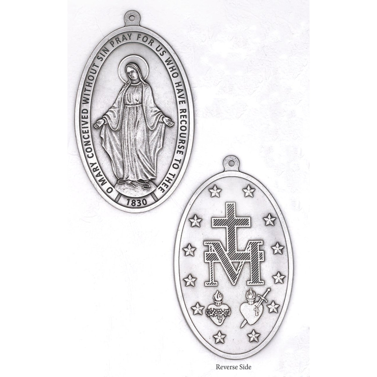 The Miraculous Medal Small Wall Medal Silver Tone Lumen Mundi