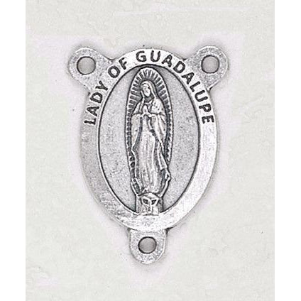 Our Lady of Guadalupe 3/4 inch Silver Toned Rosary Center English
