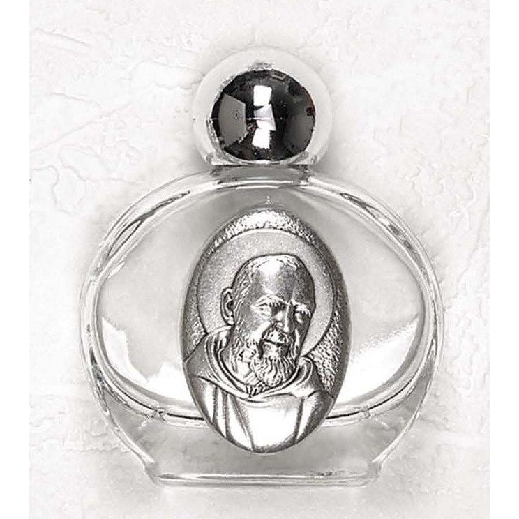 St Pio -Small Glass Holy Water Bottle - Pack of 12