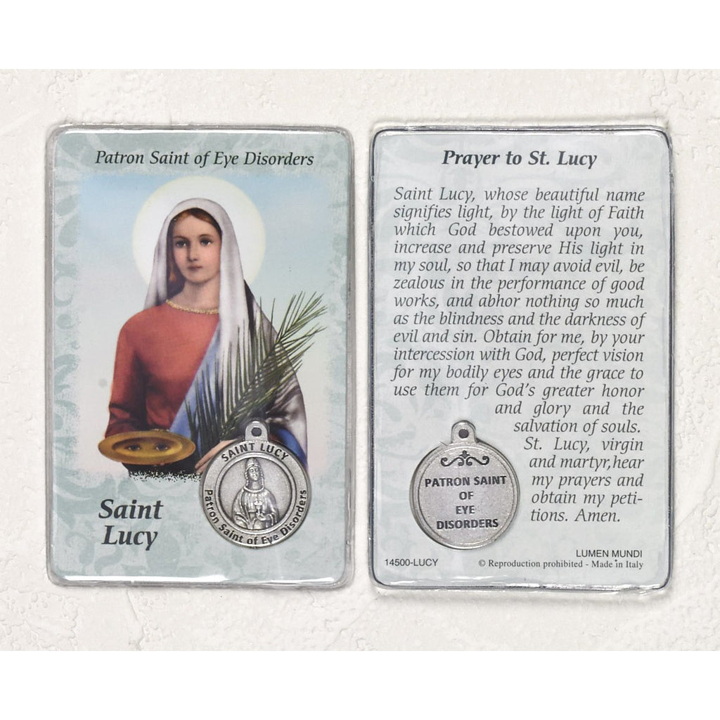 Healing Saint - St Lucy Card with Medal