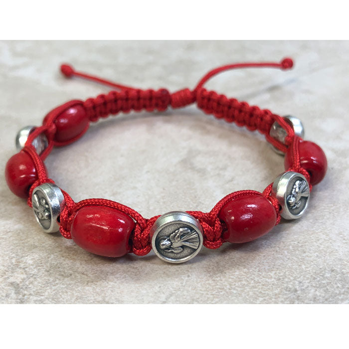 Red Wood with Divine Mercy Medals Slip Knot Bracelet