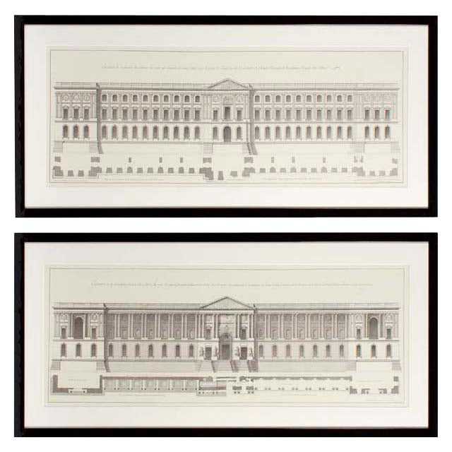 Prints La Façade Du Louvre set of 2
