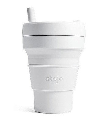 Stojo Biggie Brooklyn Cup Reisbeker 470 ml quartz met rietje