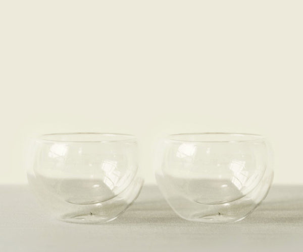 Twin Cloud Glass Chawan Set-matcha bowl
