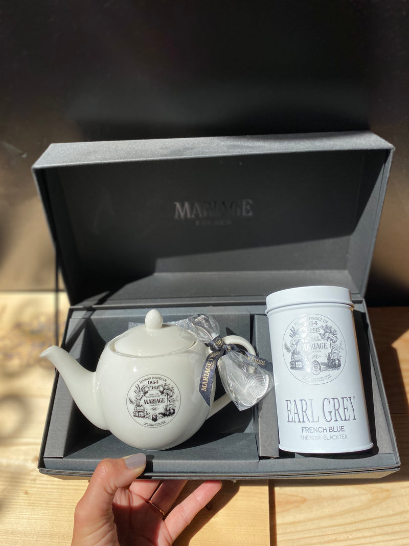 Cadeauset porseleinen theepot & Earl Grey French Blue