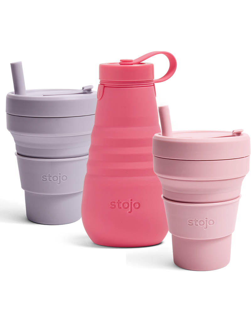 Stojo Biggie Collabsible Cup 470 ml met rietje cashmere