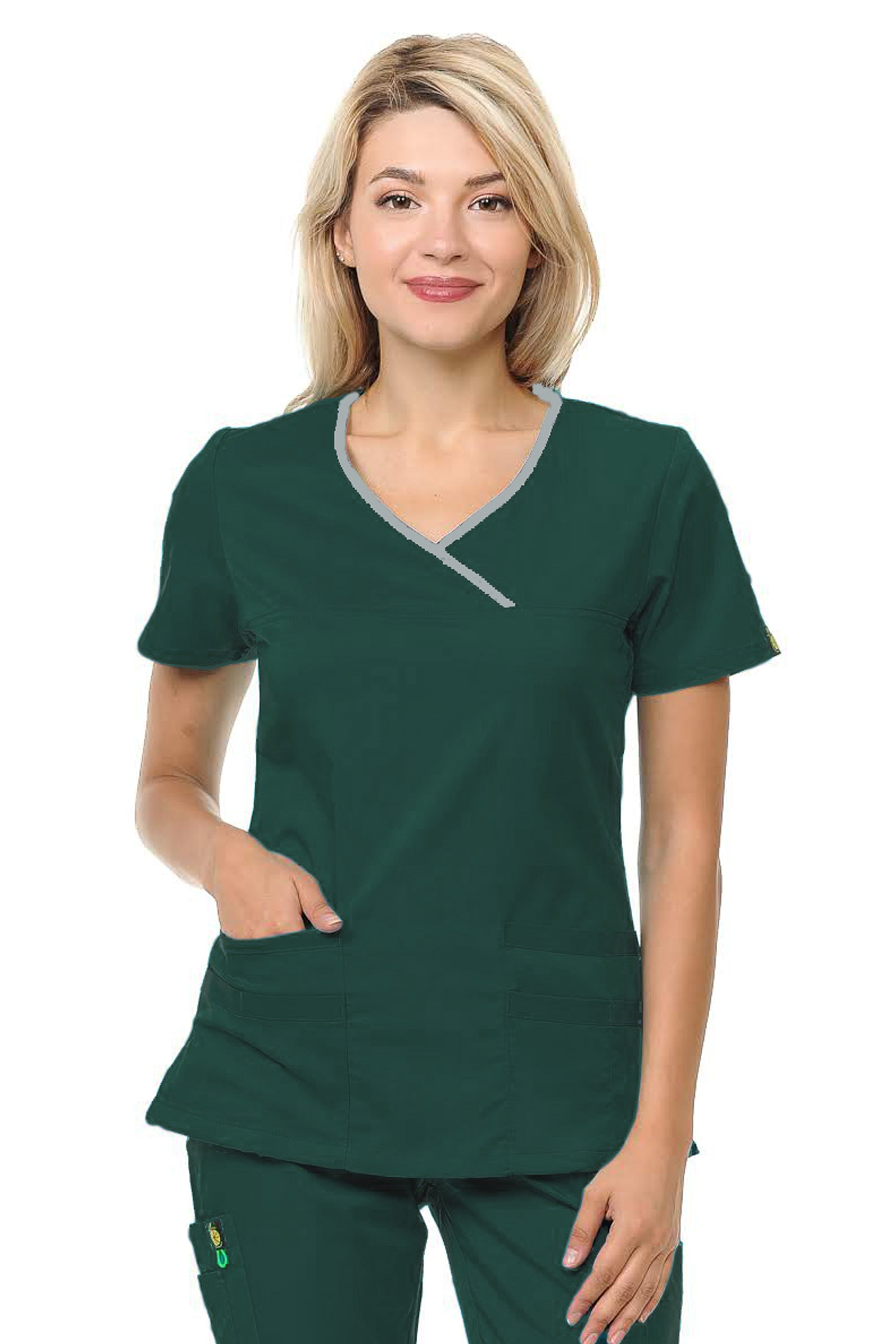 d2afe35ddf6 Woman's Polyester Rayon 2 Pocket Y-Neck Fitted Top – Platinum ...