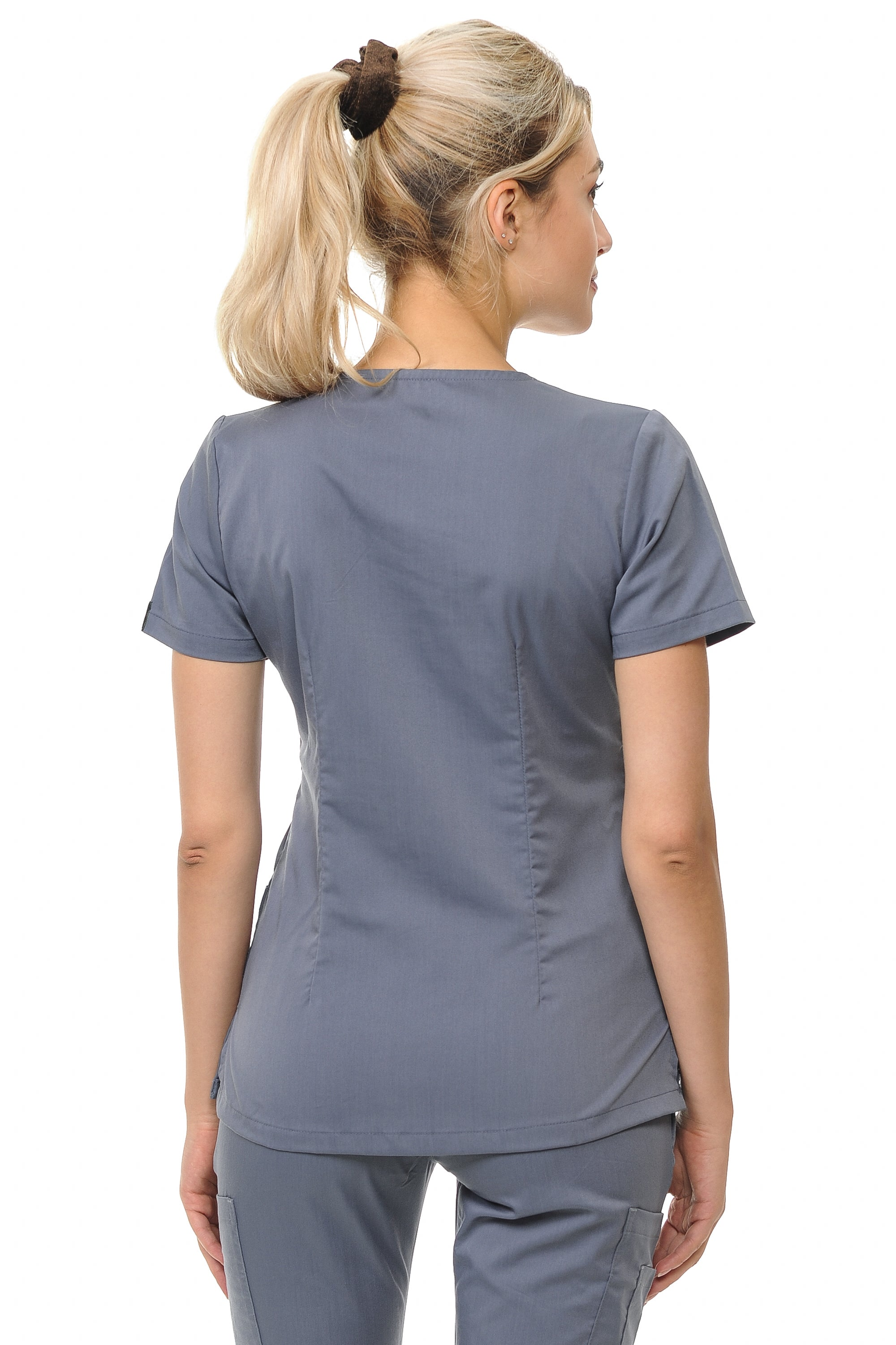 aa5375f9f1b Women's Polyester Rayon 4 Pocket Y-Neck Fitted Top – Platinum ...