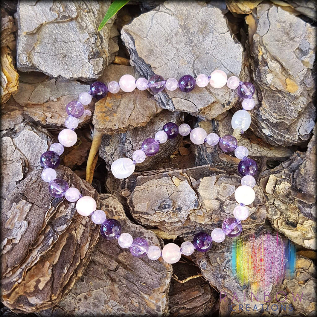 Mixed Amethyst and Rose Quartz Anklet