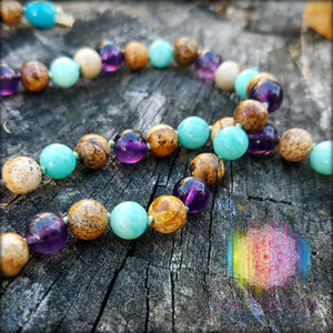 Picture Jasper, Amethyst and Amazonite Necklace