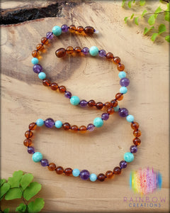 Adults Polished Cognac Amber, Amethyst and Amazonite Necklace