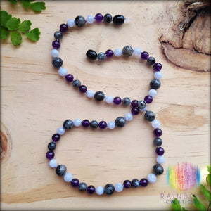 Larvakite, Blue Lace Agate and Amethyst Necklace
