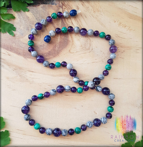Amethyst, Picasso Jasper and Malachite Necklace