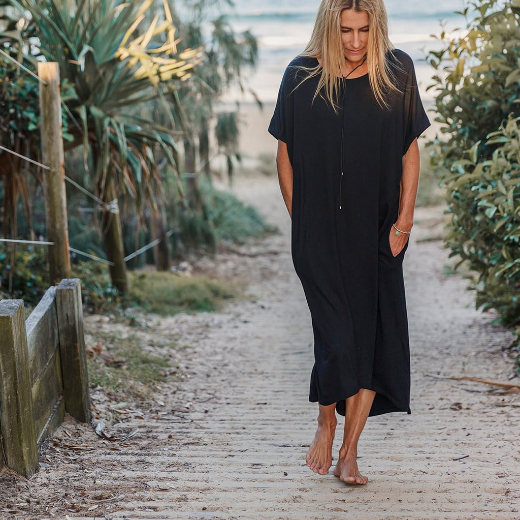 Black Batwing Midi Dress