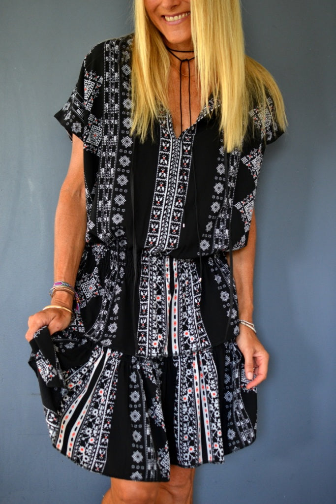 Black Aztec Drop Waist Dress