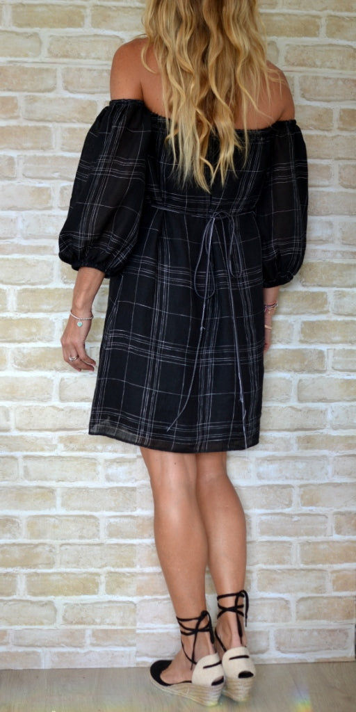 Black Check Linen Puff Sleeve Dress