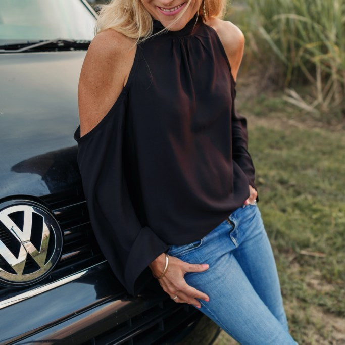 Black Drop Shoulder Long Sleeve Top