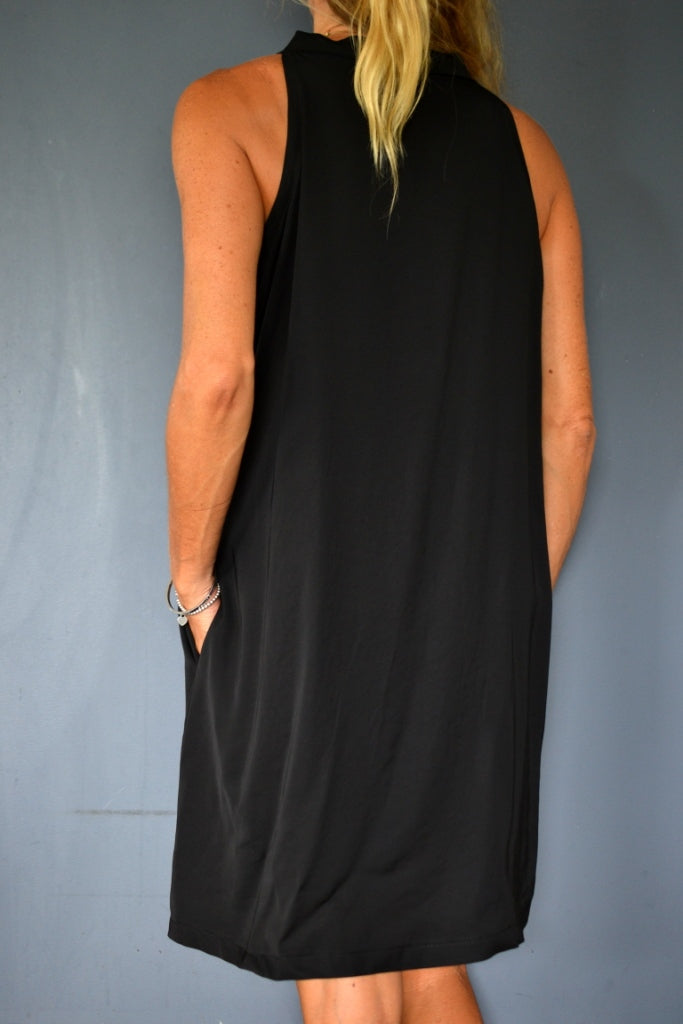 Black Scarf Neck Tie Dress