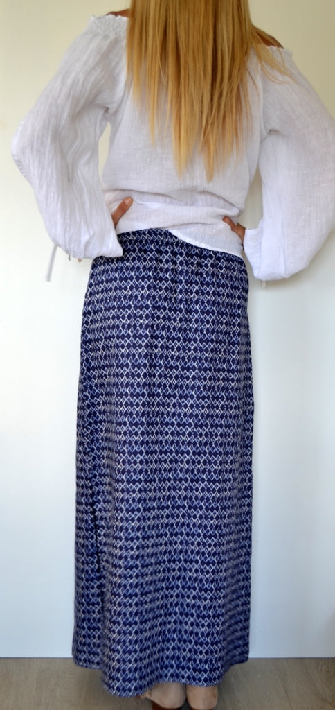 Navy Diamond Linen Maxi Skirt