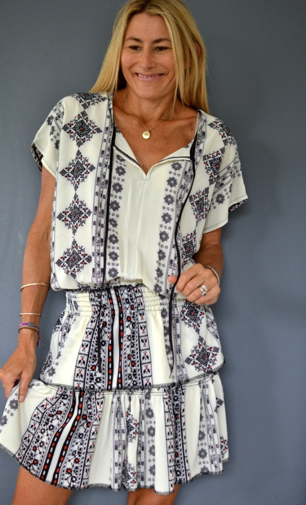 White Aztec Drop Waist Dress