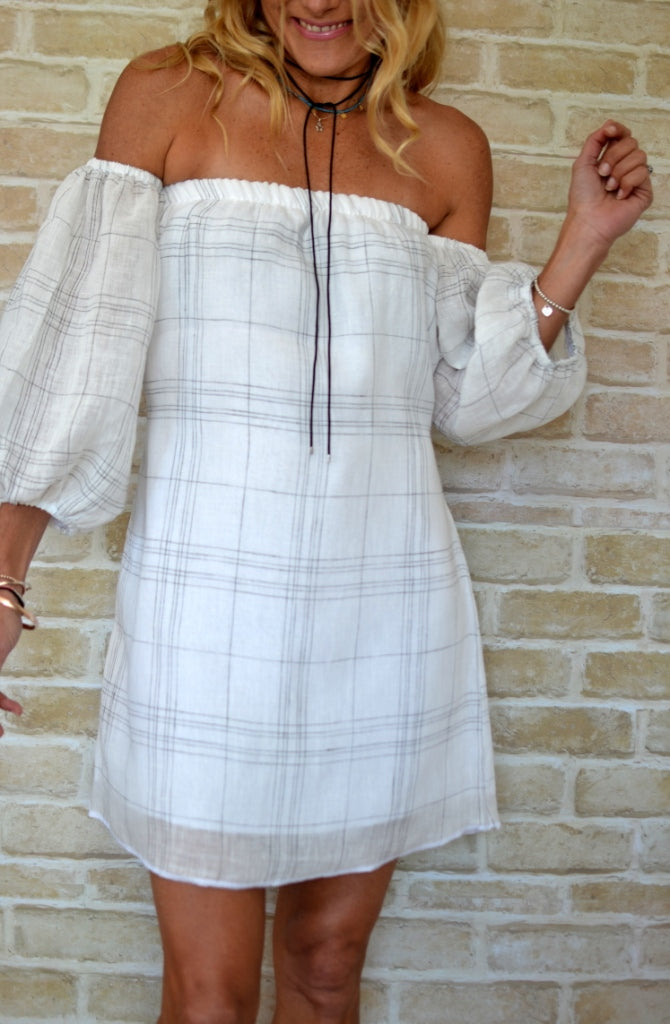 White Check Linen Puff Sleeve Dress