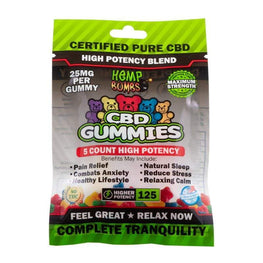 Hemp Bombs - 5 Count CBD High Potency Gummies Bag (12 Bags per Sleeve) - juice - Urban Vape and CBD
