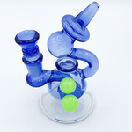 Blue/Green Globe Waterpipe With Shower Perc
