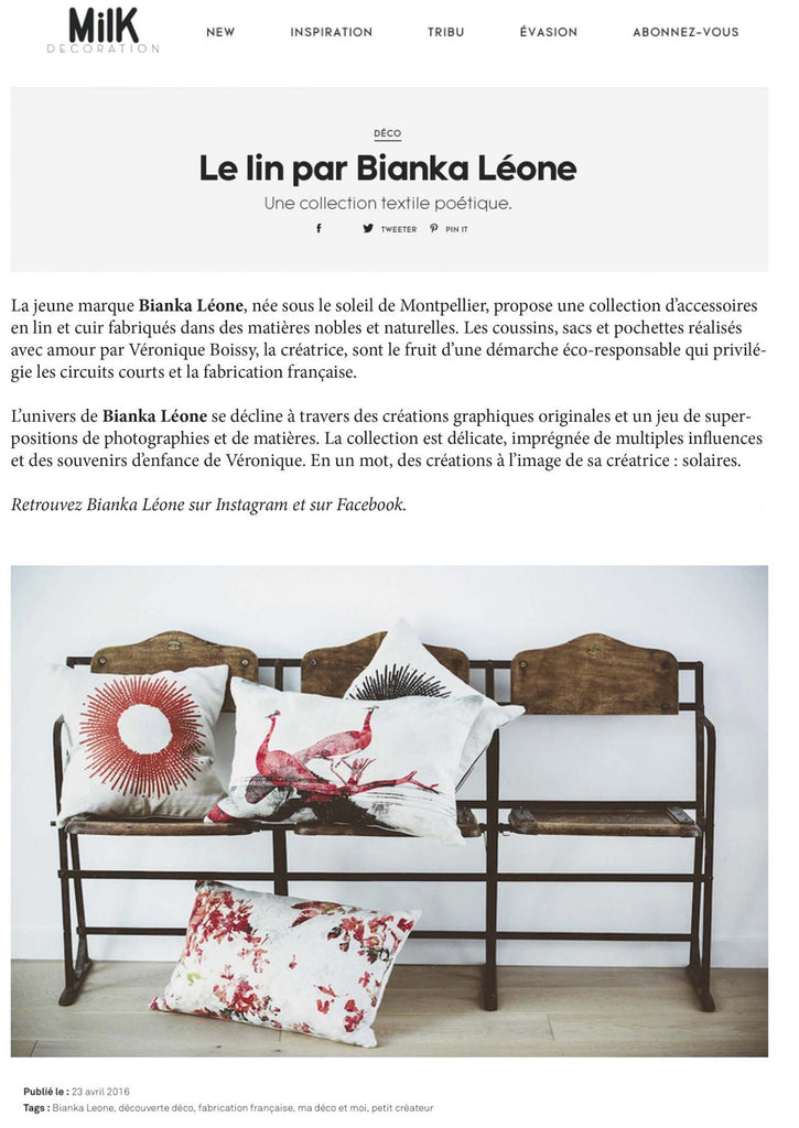 Publi Rédactionnel coussins collection corail MILK MAGAZINE Avril 2016