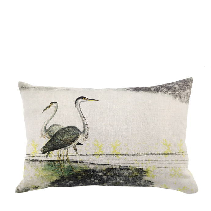 Coussin en lin made in France HERONS CENDRES - Bianka Leone