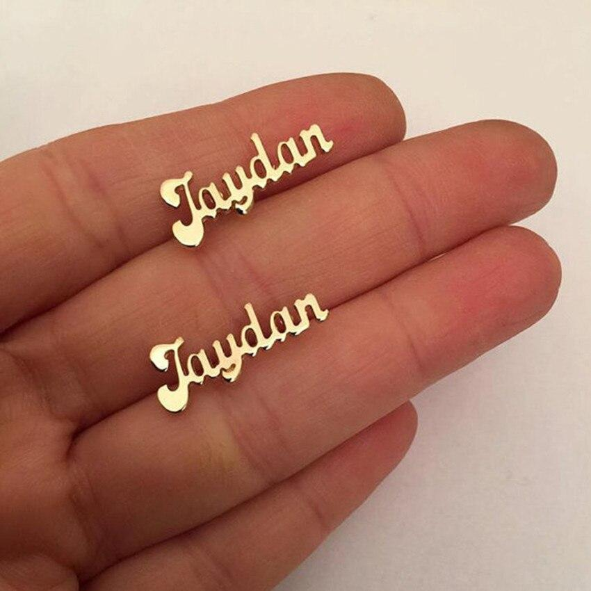 1 Pair Stainless Steel Custom Name Earrings.