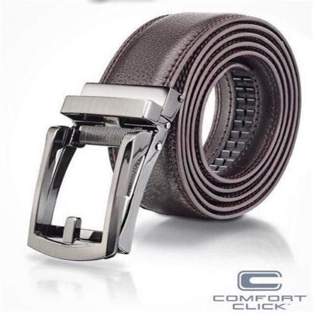 2 Colors Plain men's Leather Trousers Belt Gift Belts For Men COMFORT CLICK Leather Belt Fits Waist size from 28 to 42 inches