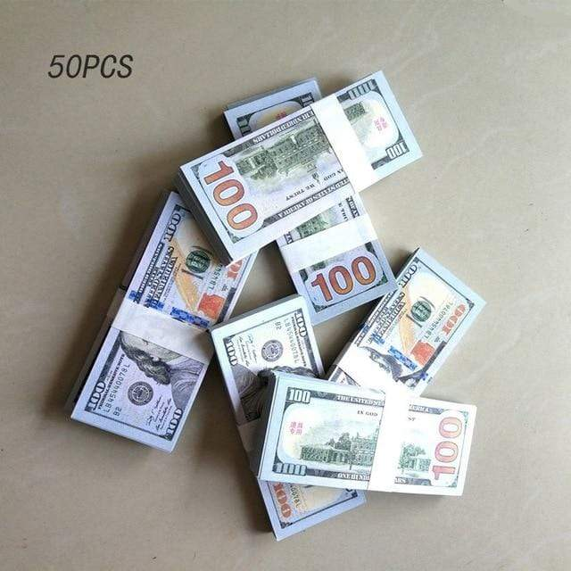 50 PC Fake Hundred Dollar Bill Prop For Parties, Pranks, and Gifts