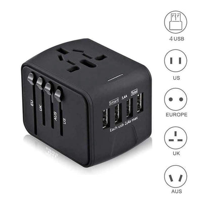 All-in-one with 3.4A 4 USB Worldwide Wall Charger for UK/EU/AU/Asia - Supports 150 countries.