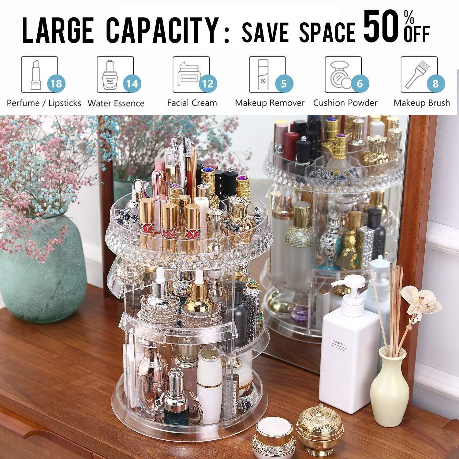 Blushbees® 360-Degree Rotating Multi-Function Acrylic Cosmetic Storage