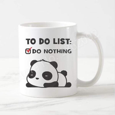 Cute Lazy Panda Mug Funny Panda To Do List Coffee Mug.