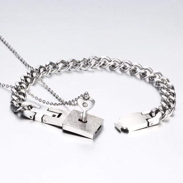 Heart Lock Bracelet & Key Necklace for Couples