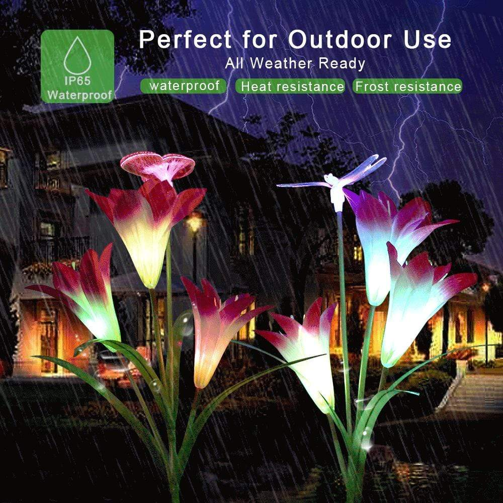 Lily Flowers Multi-Color Changing LED Solar Decorative Lights for Garden, Patio, Backyard.