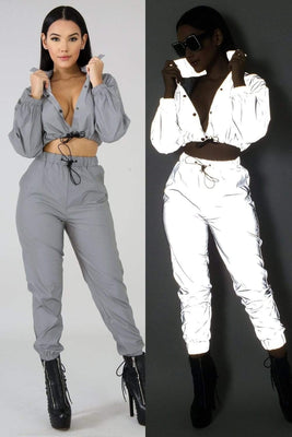 Night Reflective Casual Long Sleeve O Neck Sexy Crop Top With Pants Tracksuit / Night Club Party Suit