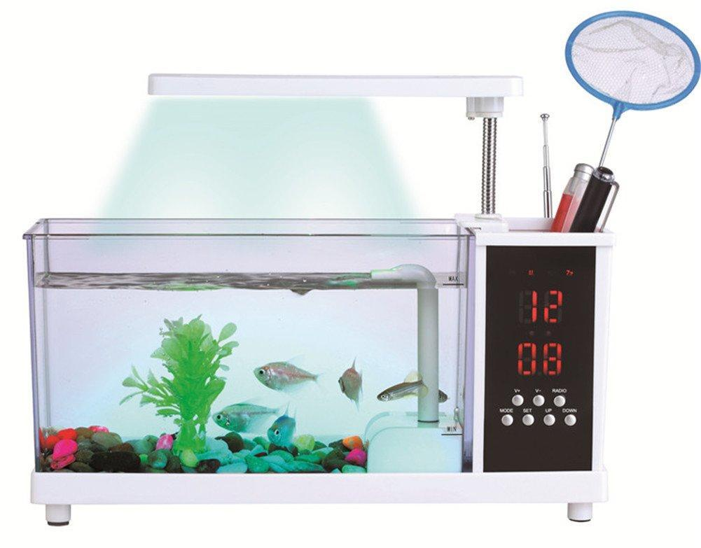 USB Aquarium With LED Lamp + LCD Display and Clock Alaram for Home/Office