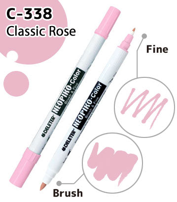 DELETER NEOPIKO-Color Classic Rose (C-338) Alcohol-based Dual Tipped Marker