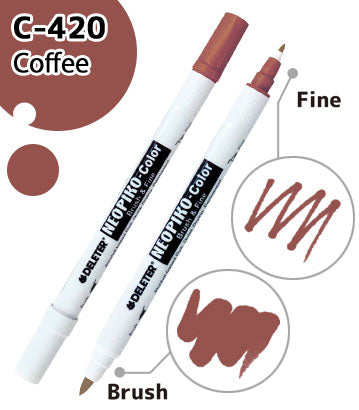 DELETER NEOPIKO-Color Coffee (C-420) Alcohol-based Dual Tipped Marker