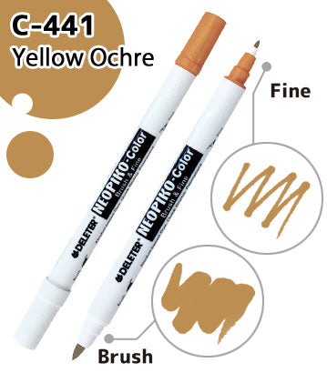 DELETER NEOPIKO-Color Yellow Ochre (C-441) Alcohol-based Dual Tipped Marker