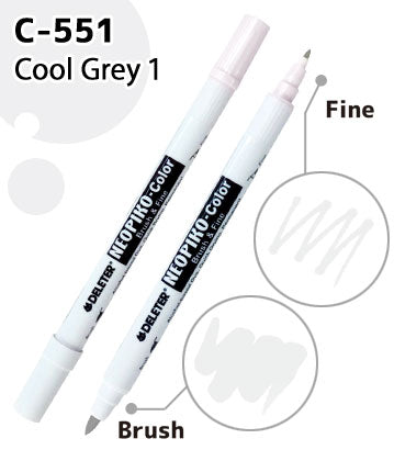 DELETER NEOPIKO-Color Cool Grey 1 (C-551) Alcohol-based Dual Tipped Marker