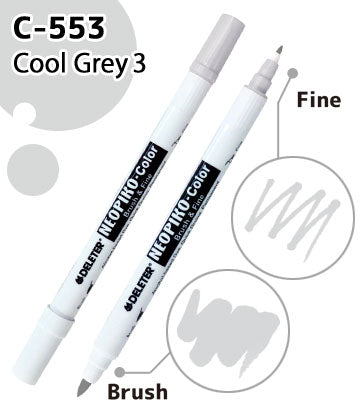 DELETER NEOPIKO-Color Cool Grey 3 (C-553) Alcohol-based Dual Tipped Marker