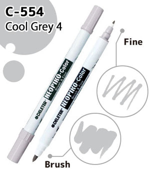 DELETER NEOPIKO-Color Cool Grey 4 (C-554) Alcohol-based Dual Tipped Marker