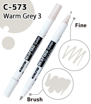 DELETER NEOPIKO-Color Warm Grey 3 (C-573) Alcohol-based Dual Tipped Marker