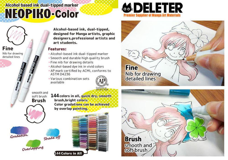 DELETER NEOPIKO-Color Cool Grey 10 (C-560) Alcohol-based Dual Tipped Marker