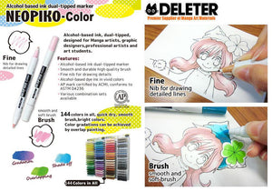 DELETER NEOPIKO-Color Lemon Yellow (C-114) Alcohol-based Dual Tipped Marker