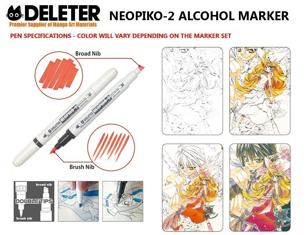 DELETER Neopiko-2 Dual-tipped Alcohol-based Marker - Cherry Pink (500)
